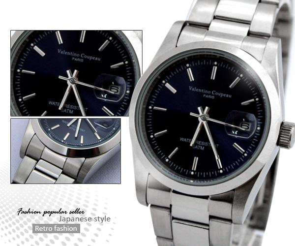 柒彩年代【NE196】范倫鐵諾不鏽鋼錶帶+錶殼~時尚深藍色系