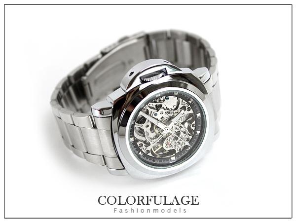 柒彩年代【NE132】不繡鋼錶帶超厚實自動上鍊機械錶~高磅數鏤空.雜誌時尚對錶