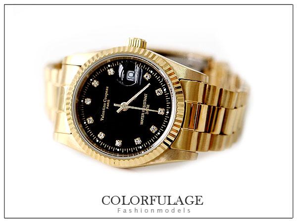 柒彩年代【NE246】范倫鐵諾Valentino全金色澤錶款~崁入水鑚不銹鋼錶殼.錶帶