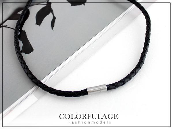 柒彩年代【NB454】皮革編織搭配項圈 還可以使用自己的項鍊˙一款多用途