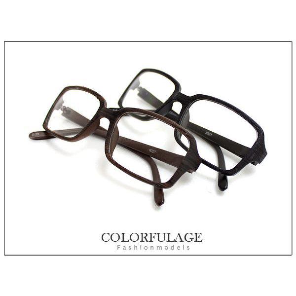 柒彩年代【NY127】我可能不會愛你 著用仿木復古方框眼鏡 小資女孩~單支