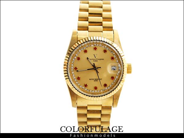 柒彩年代【NE430】自動機械錶 崁入奧地利滿鑽設計 Valentino范倫鐵諾專櫃手錶~原廠公司貨