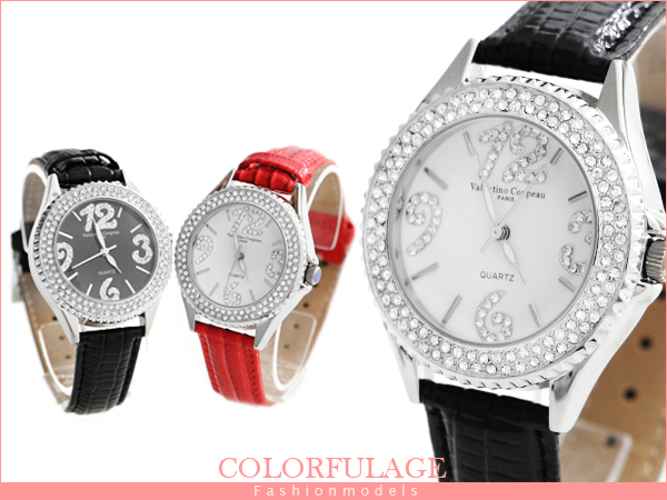 柒彩年代 【NE447】滿鑽大數字真皮錶帶 中性款 對錶 范倫鐵諾Valentino 單支價格