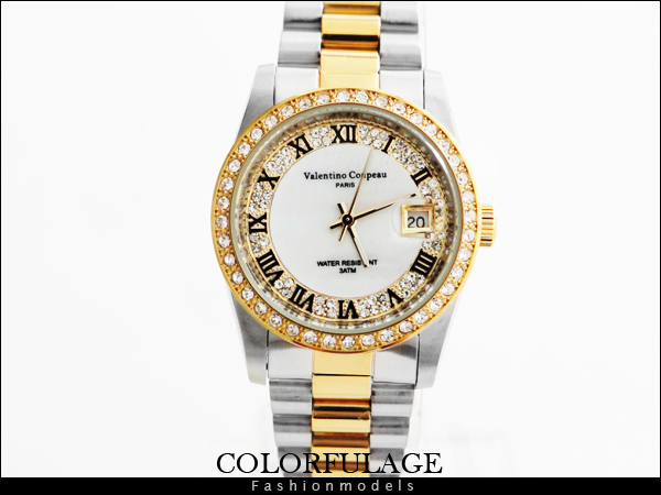 柒彩年代【NE445】金銀交錯滿天星水鑽羅馬刻度手錶 Valentino范倫鐵諾專櫃品牌錶款~單支