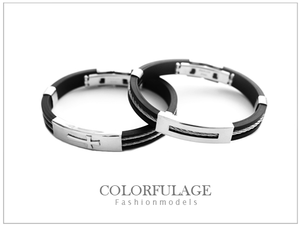 柒彩年代【NA204】西德316L鋼製經典個性鋼索矽膠手環.無限制手圍都可配戴~單只價格