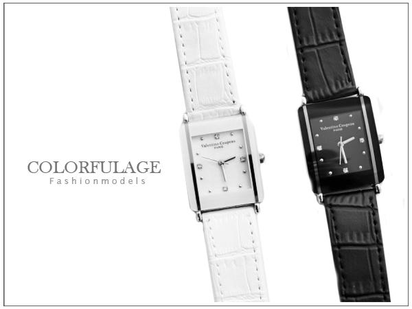 柒彩年代【NE498】范倫鐵諾Valentino時尚經典方形手錶對錶 真皮錶帶~單支價格 原廠正品