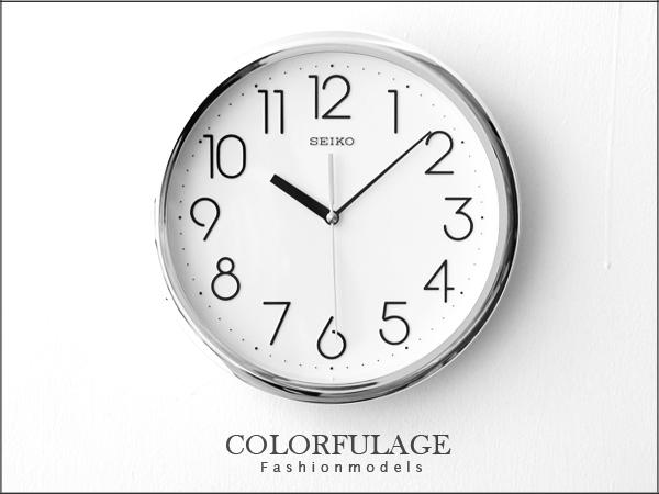 SEIKO精工時鐘 簡約大數字刻度時尚銀 百搭裝飾家具 柒彩年代【NE856】原廠公司貨