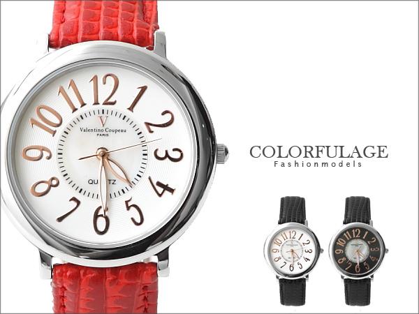 范倫鐵諾Valentino 玫瑰金真皮手錶