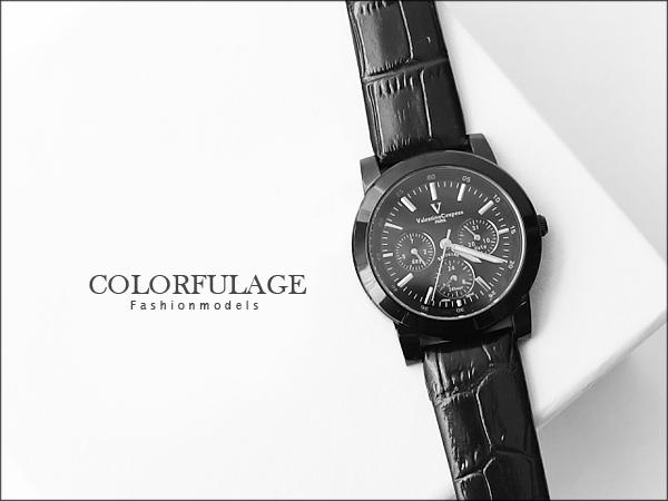 Valentino范倫鐵諾三眼皮革錶