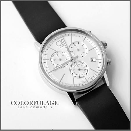 Calvin Klein經典真三眼計時腕錶 專櫃真皮不鏽鋼 生日禮物手錶 柒彩年代【NE900】大仁哥配戴款