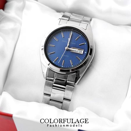 藍極光不鏽鋼腕錶 范倫鐵諾Valentino日本機芯簡約手錶 柒彩年代 【NE972】原廠公司貨