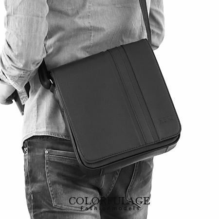 都會時尚側背包 質感全黑厚實皮革 商務上班族 柒彩年代【NZ330】型男磁鐵扣設計