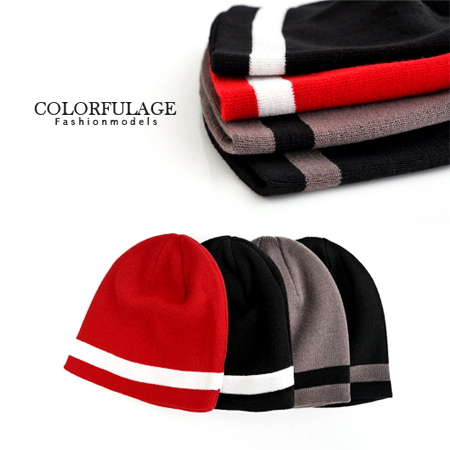 秋冬型男保暖單品 品味質感線條素面毛帽 彈性佳不分男女都可配戴 柒彩年代【NH123】單頂