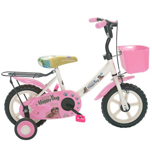 Adagio 12吋酷樂狗輔助輪童車附置物籃-粉色(BEYJ128P)