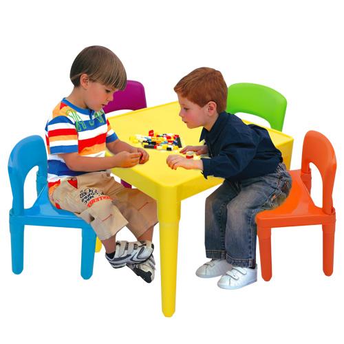 【寶貝家】繽紛桌椅組(一桌四椅)~台灣生產喔(BJ7901F)
