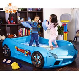 【寶貝樂】夢幻快車豪華兒童床組附高密度天然乳膠床墊(大)-藍色(BGRB01BA01)