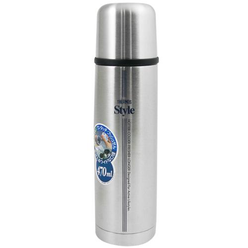 【THERMOS膳魔師】不鏽鋼高真空保溫杯瓶470ml-不鏽鋼色SBK【FDW-500】(MF0117A)