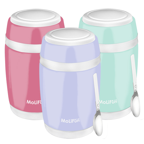 MoliFun魔力坊 馬卡龍不鏽鋼真空保鮮保溫燜燒食物罐550ml (MF0230)