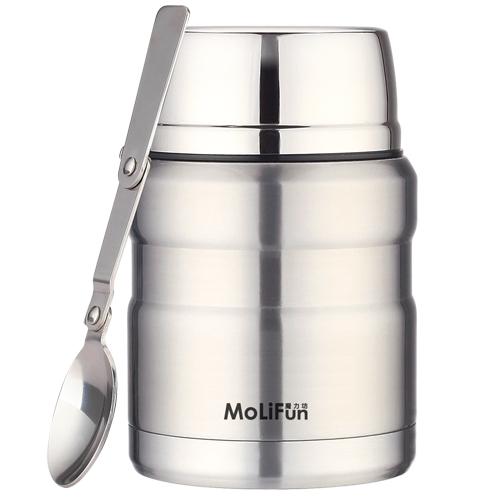 【福利品】MoliFun魔力坊 不鏽鋼真空保鮮保溫燜燒食物罐450ml-星鑽銀(MF0231A)【不能退貨&不能換貨】