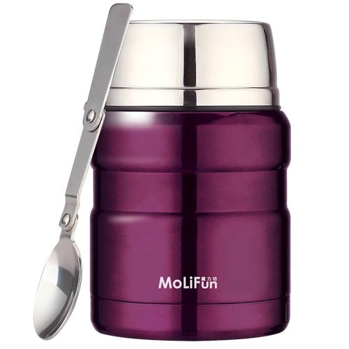 MoliFun魔力坊 不鏽鋼真空保鮮保溫燜燒食物罐450ml-典雅紫(MF0231V)