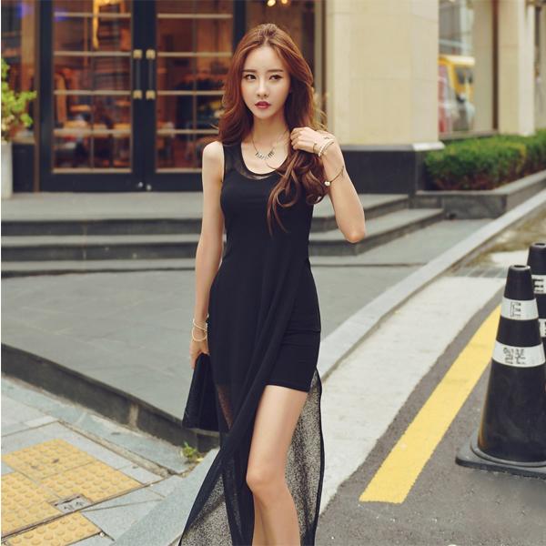 PS Mall 韓版新款性感修身包臀開叉兩件套背心針織連衣裙 連身洋裝【T1087】