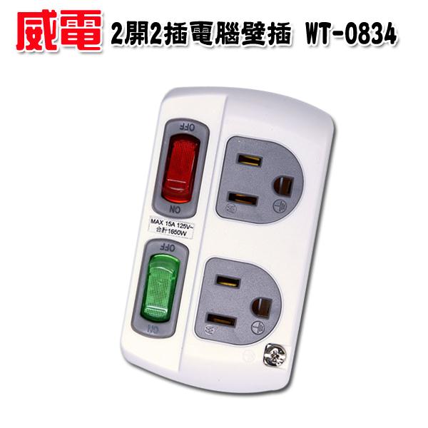 【威電 ● 京凱】 2開2插電腦壁插 15A WT-0834 ~台灣製造 防火PC材質