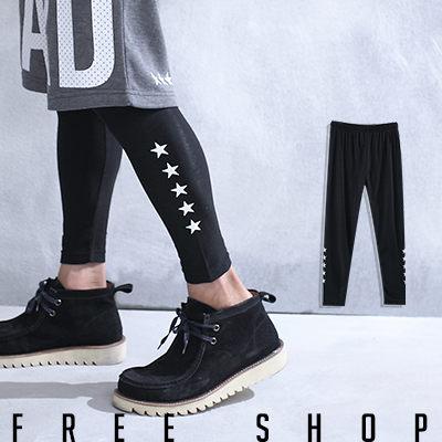 Free Shop【QSPG2315】歐美潮流系星星印花彈性彈力棉質內搭長褲內搭褲‧黑色 MIT 台灣製