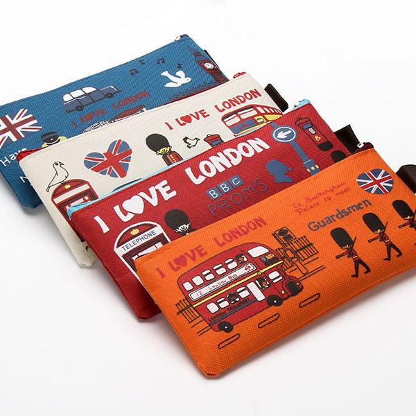 筆袋英倫風小物包鉛筆盒(藍、米白、紅、橘)-JC Collection