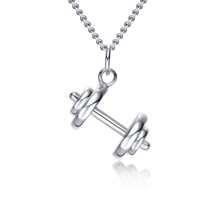 最新款歐美風格特色啞鈴舉重造型男款鈦鋼項鍊