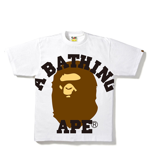 【EST O】A Bathing Ape Face Over College Tee 白 G0908