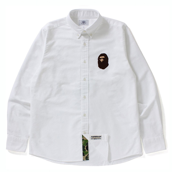 【EST O】A Bathing Ape Large Ape Head Oxford Bd Shirt 襯衫 白 G0908