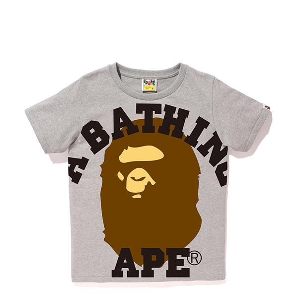 【EST O】A Bathing Ape Face Over College Tee 灰 Ladies G0908