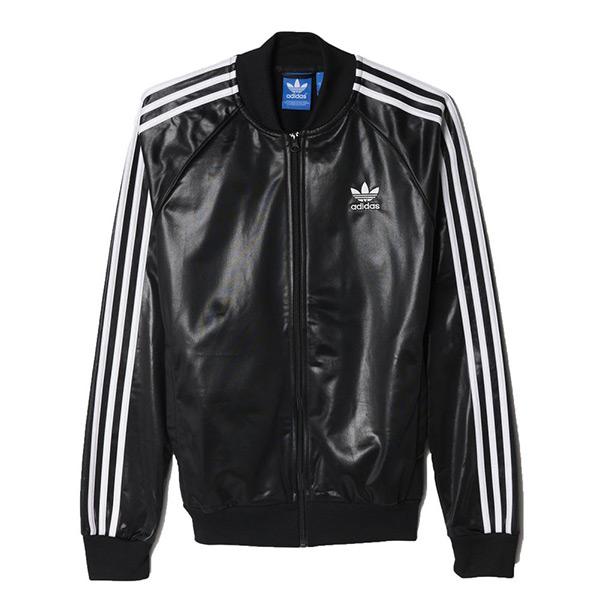 【EST S】Adidas Originals AY7717 三葉草 仿皮 棒球外套 男款 黑白  G1205