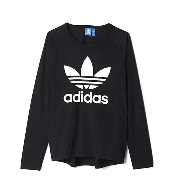 【EST S】Adidas Trefoil Ls AY7801 三葉草 長Tee 男款 黑白 G1205
