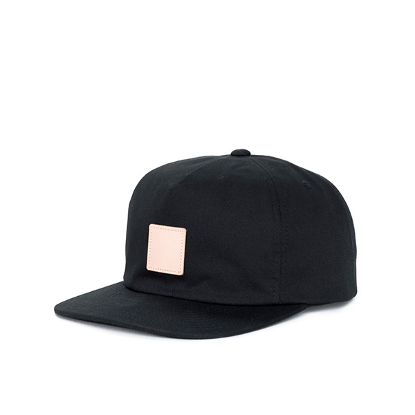 【EST】HERSCHEL NILES 皮革 後調式 五分割帽 棒球帽 黑 [HS-1022-001] F0819