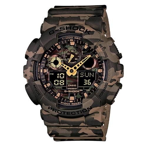 【EST O】G-Shock 賽車 三眼 潮流 迷彩 手錶 [GA-100CM-5AJF] 咖啡 F0313
