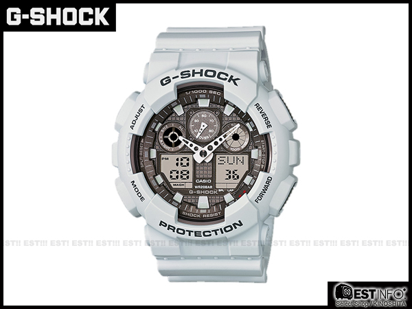 【EST O】G-Shock Baby-G Casio GA-100 卡西歐 防水 大錶面 潮流 手錶 [GA-100LG-8] 白 E0221
