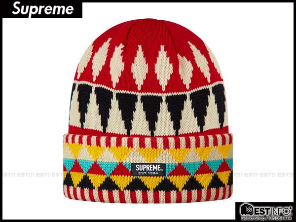 【EST】SUPREME 2013 FW BEANIE BOX LOGO 民族風 針織 反折 毛帽 [SU-4006] 紅 E0307