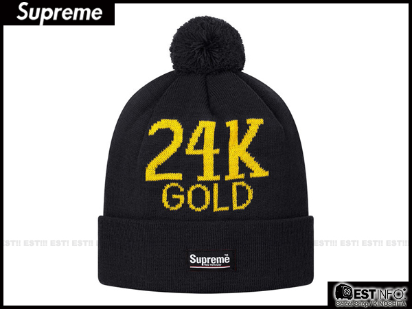 【EST】Supreme 2013 Fw Beanie Box Logo 24K Gold 毛球 反折 毛帽 [SU-4010-002] 黑 E0307