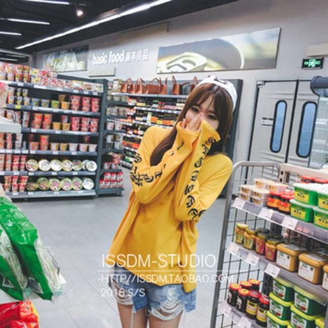 50%OFF【G018719C】新款韓國學生印花寬鬆圓領中長款長袖T恤女上衣百搭