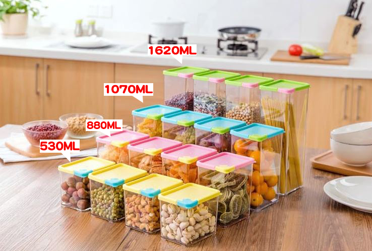 (長方)可疊加五穀雜糧密封罐有蓋食品保鮮盒收納儲物罐