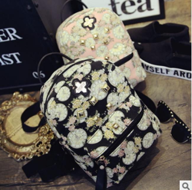 50%OFF【RA011403B】學院風新款迷你時鐘花雙肩包女帆布韓版可愛潮學生書包背包批發