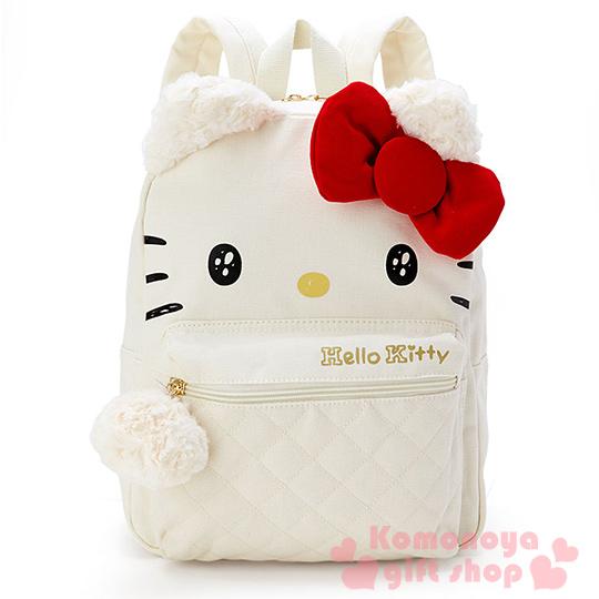 〔小禮堂〕Hello Kitty 帆布造型後背包《白.大臉.玫瑰螺旋絨毛耳朵》
