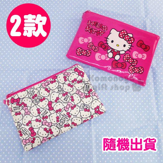 〔小禮堂〕Hello Kitty 亮面扁平化妝包《2款.隨機出貨.粉/白.二層》