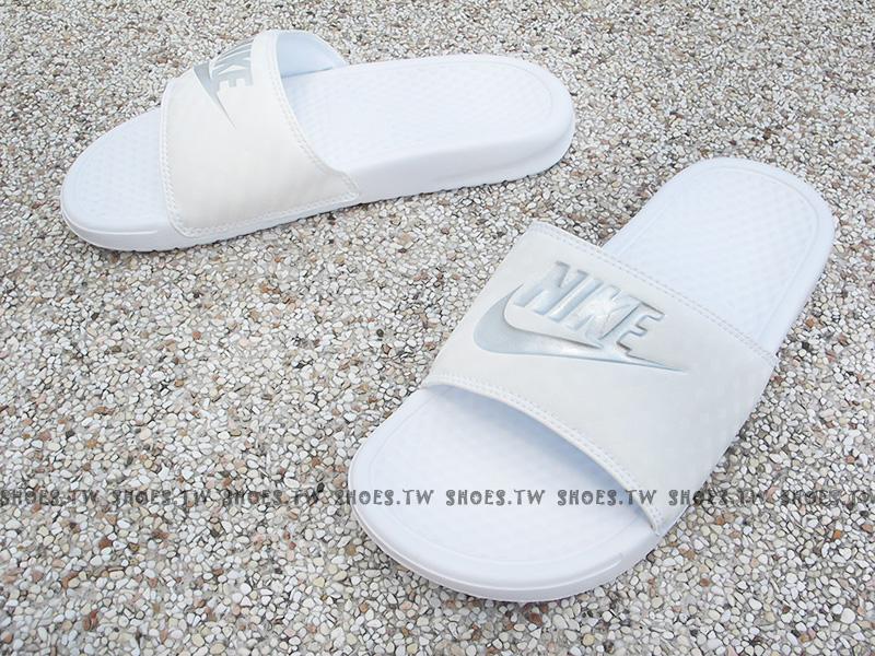[27cm] Shoestw【343881-102】NIKE WMNS BENASSI JDI 運動拖鞋 全白 菱格 男女生尺寸