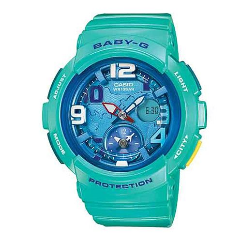 CASIO BABY-G BGA-190-3B海灘旅行雙顯流行腕錶/藍綠44mm