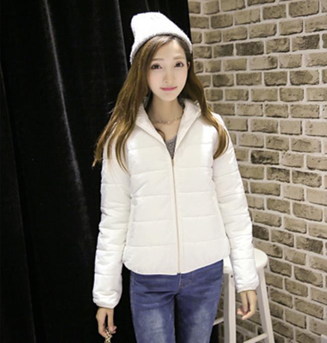 50%OFF【G018510C】韓版2016秋冬新款女裝純色拉鍊輕薄短款羽絨-防曬棒球外套夾克外套鋪棉外套西裝外套