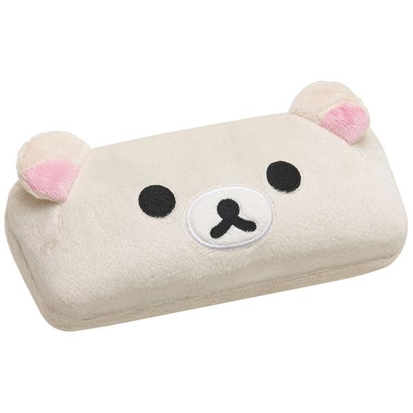 【真愛日本】16093000017  絨毛硬式眼鏡盒-大臉奶熊  SAN-X 懶熊  奶熊 拉拉熊   收納盒 眼鏡盒 置物盒