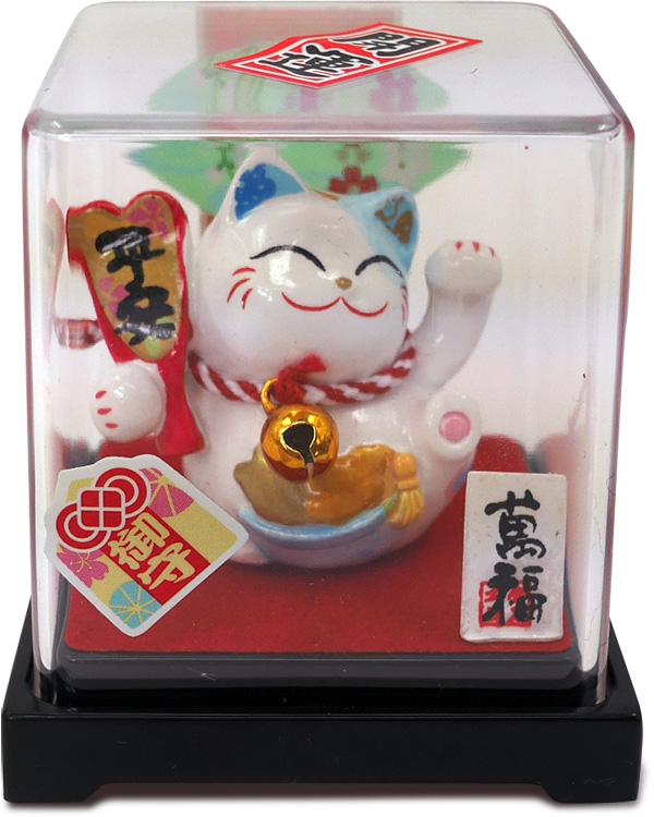 【金石工坊】平安手繪招財貓小擺飾-含壓克力盒 車上擺飾 求健康 求平安