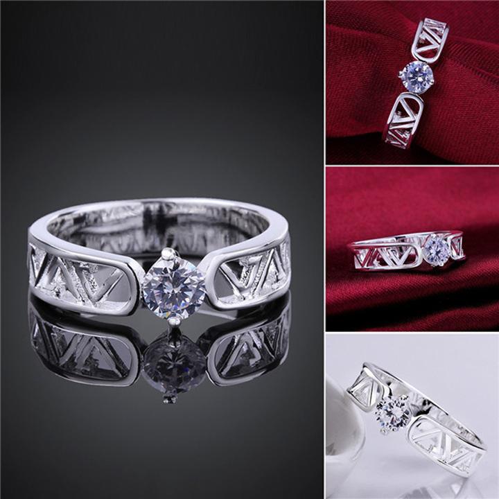 Missyoyo  925純銀鏤空造型鑲鑽戒指飾品【Q02YR605】-預購